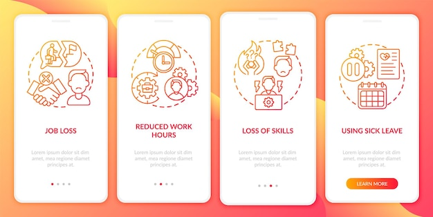 Post covid syndrome and employment onboarding mobile app page screen with concepts. job loss walkthrough 5 steps graphic instructions. ui  template with rgb color illustrations