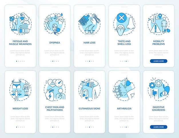 Набор концепций экрана страницы мобильного приложения при постковидном синдроме. сокращение рабочего времени прохождение 5 шагов графических инструкций. шаблон пользовательского интерфейса с цветными иллюстрациями rgb