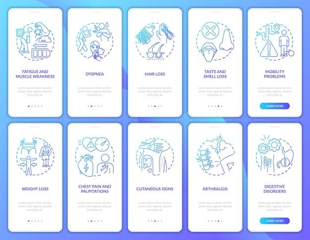コンセプトが設定されたポストコビッド症候群オンボーディングモバイルアプリページ画面。モビリティの問題のウォークスルー5ステップ。 rgbカラーイラスト付きのuiテンプレート