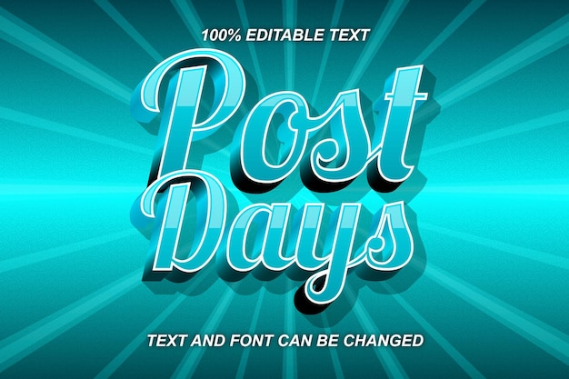 Post day editable text effect comic style