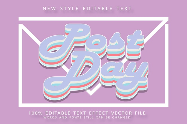 Post day editable text effect emboss modern style