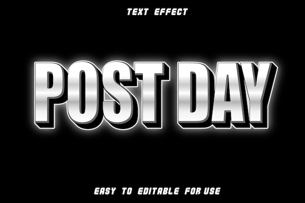 Post day editable text effect emboss neon style