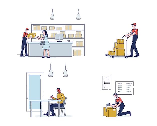 택배 및 우편 고객과 함께 우편 배달 및 우편물 세트
