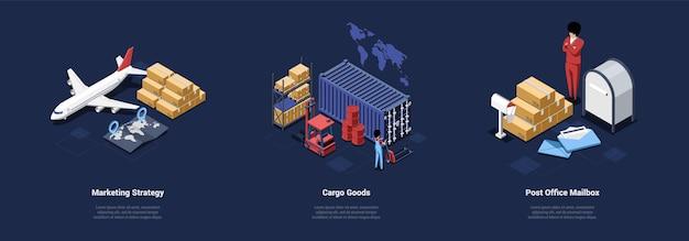 Почтовая доставка иллюстрации маркетинговой стратегии грузовые товары офисные идеи почтового ящика