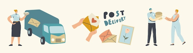 Post delivery service. couriers or postman characters bringing parcels to customers on truck