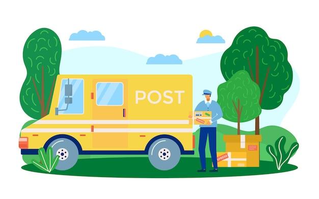 ポストデリバリーサービス、ベクターイラスト。男の宅配便のキャラクターは、車の輸送、高速郵便、小包の発送の近くに立っています。制服を着た男性、郵便配達用のエクスプレストラック。
