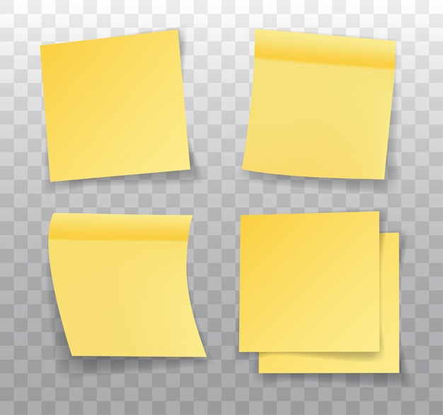 Post-it note, set of realistic yellow paper bookmarks. paper adhesive tape with shadow.