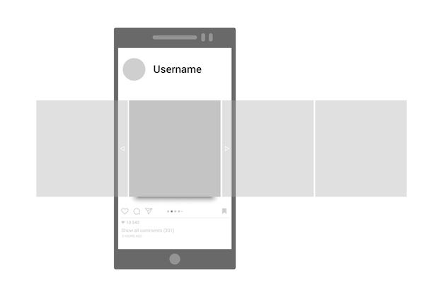 포스트 모형. 인터페이스 회전 목마 게시물 벡터 템플릿. 소셜 네트워크 페이지, 모바일 앱 개념. 회전 목마 슬쩍 스마트 폰 응용 프로그램 벡터 디자인. 프로모션 사진 모바일, 미디어 콘텐츠 일러스트레이션