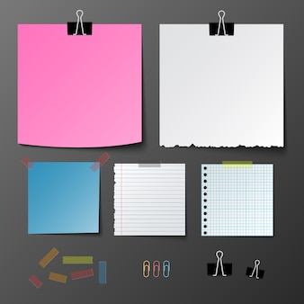 Post note paper set on gray background