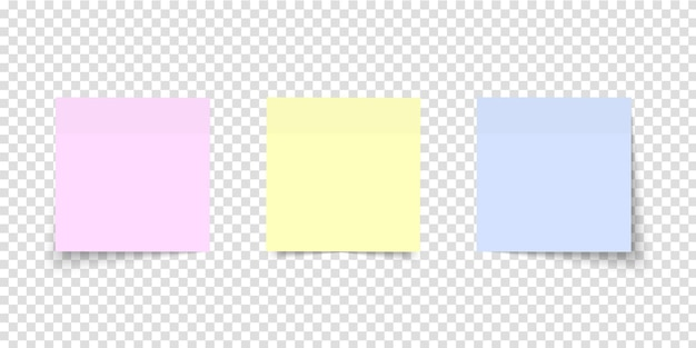 Post note set. sticker paper. different colored sheets of note papers with curled corner on transparent background. multicolor notes.