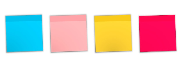 Post note sticker. note sticky isolated on white background. colored sticky note set. sticky note collection with curled corners and shadows. colorful noticeboard stickers , blank post stickies