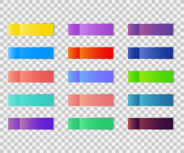 투명 한 배경에 고립 된 포스트 메모 스티커입니다. 그림자가 있는 포스트 종이 스티커 테이프 세트. 사무실 색 포스트 메모 스틱 다채로운 스티커 메모