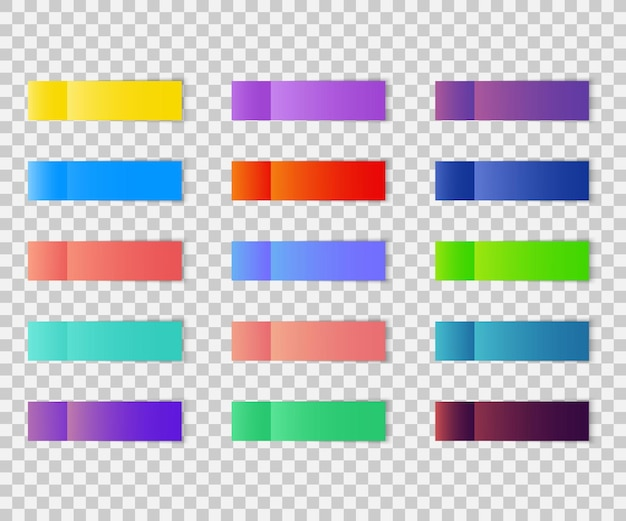 Post note stickers isolated on transparent background. post paper sticky tape set with shadow. office color post note sticks colorful sticky notes