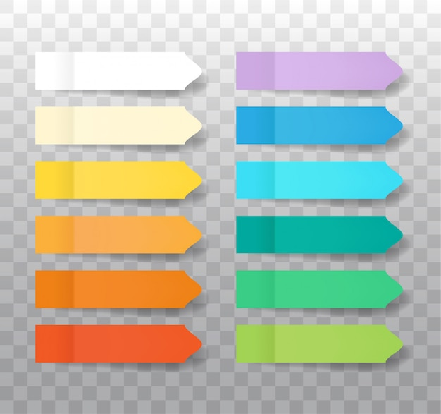 透明な背景に分離されたメモトライアングルステッカーを投稿します。現実的なカラーペーパーブックマークのセット。影付き紙粘着テープ。