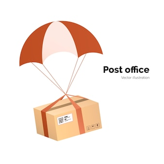 Post office. airmail delivery service. packege with label, qr code. parcel with parachute for shipping,   illustration