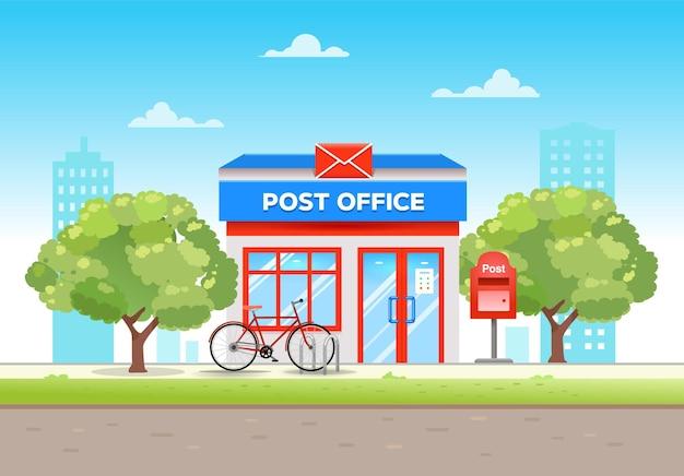 Здание почты в плоском стиле в городе в летний день с велосипедом у входа, иллюстрация