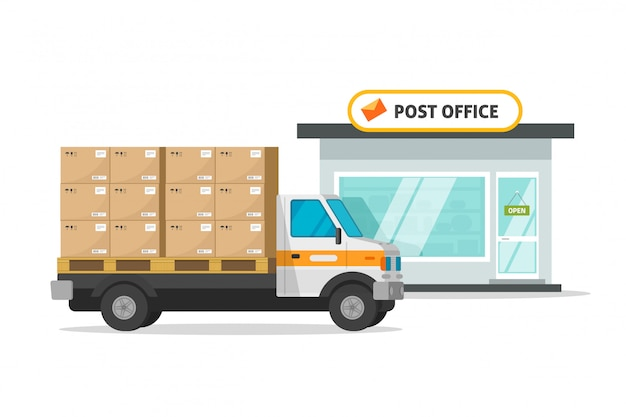 Post office cargo truck vehicle loaded parcel boxes  illustration
