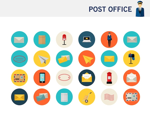 Post office concept flat icons.