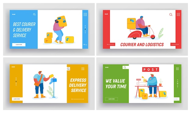 Post office employees website landing page set
