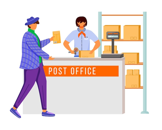 Post office female worker and customer flat color illustration. sending parcel procedures. post service delivery. parcels collection point isolated cartoon character on white background