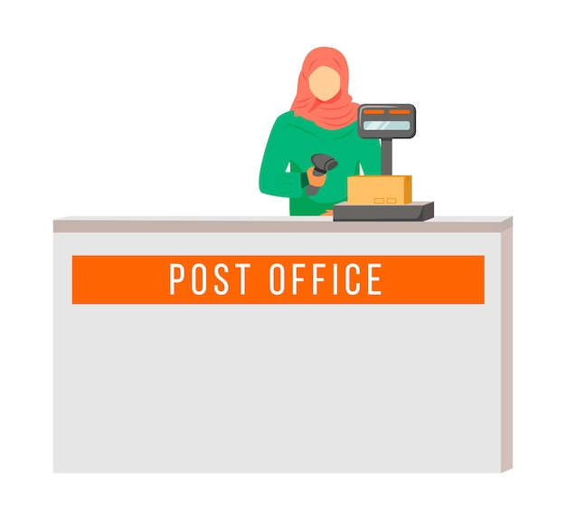 Post office female worker with hijab flat color . woman checks and scans packages. post service delivery process. collection point isolated cartoon character on white background