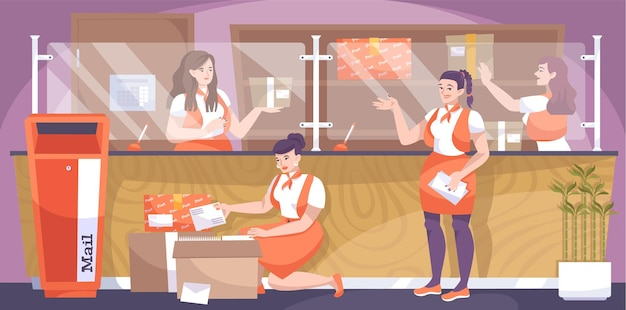 メールボックスの小包の手紙とカウンターのイラストと郵便局員の女性キャラクターと郵便局フラット構成