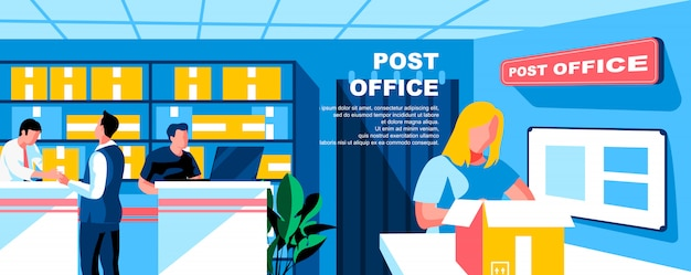 Post office flat landing page template banner layout.