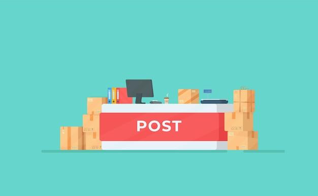 郵便局。レジのイラスト。