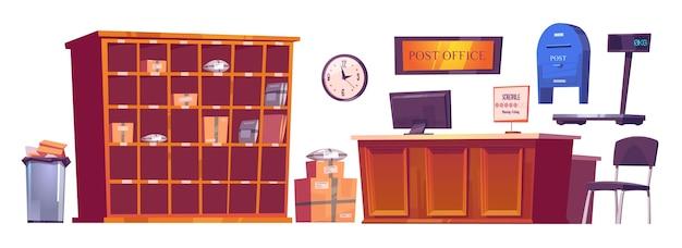 우체국 인테리어 용품, 컴퓨터와 일정이있는 가구 리셉션 데스크, 시계, 선반과 저울 위의 소포, 우체통 및 쓰레기통. 배달 서비스 우표 만화 벡터 일러스트 레이 션 세트