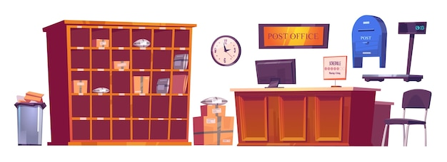 Post office interior stuff, furniture reception desk with computer and schedule, clock, parcels on shelves and scales, mail box and litter bin. delivery service postage cartoon vector illustration set