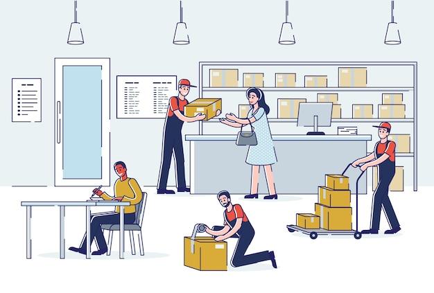 Интерьер почтового отделения с людьми, отправляющими и получающими почту, и курьерами, доставляющими посылки.
