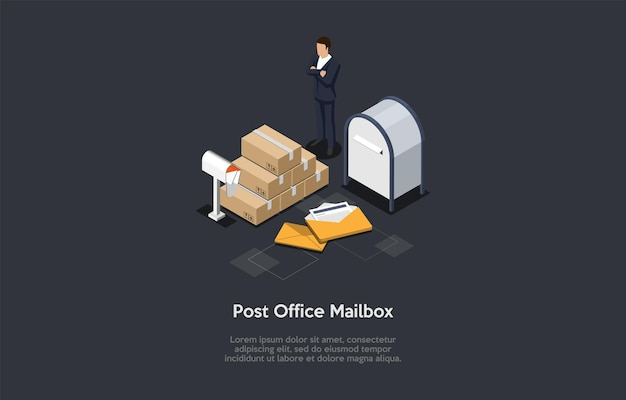 Post office mailbox illustration in 3d style