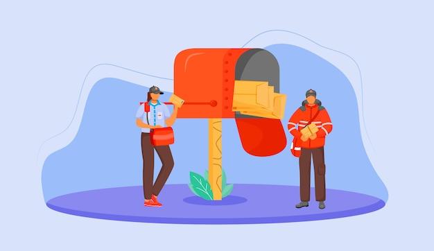 郵便局の男性と女性の労働者カラーイラスト。ロイヤルメールの従業員。伝統的なイギリスの郵便局。青色の背景にパッケージの漫画のキャラクターの配達の少年