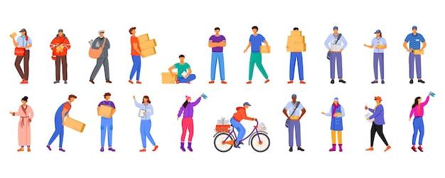 郵便局の男性と女性の労働者のフラットカラーイラストセット