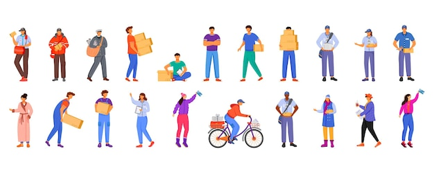 Post office male and female workers flat color illustrations set