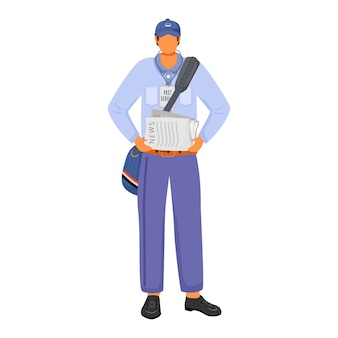 Post office male worker in american uniform flat color illustration. man distributes news. post service. daily newspaper carrier. paperboy isolated cartoon character on white background