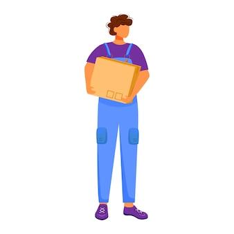 郵便局の男性労働者のフラットカラーイラスト。男はパッケージを配布します。郵便配達の少年。箱や小包の輸送は、白い背景の上の漫画のキャラクターを分離しました