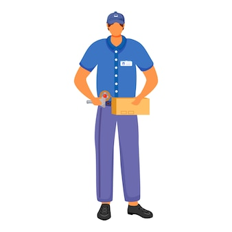 Post office male worker flat color illustration. man packs parcels for sending. post service delivery. man in blue uniform isolated with stick tape cartoon character on white background