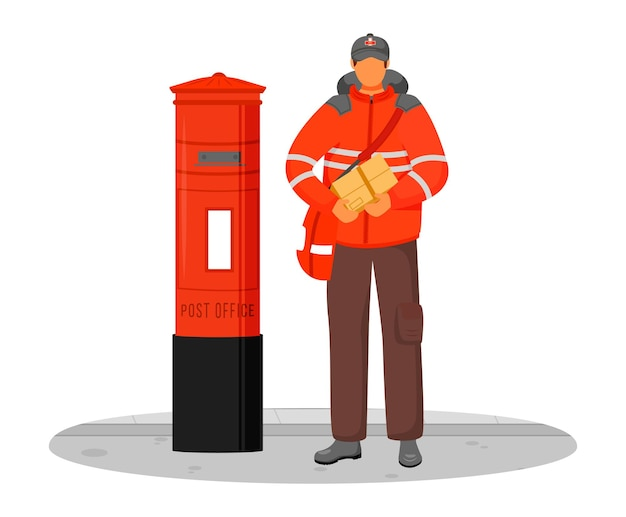 Post office male worker flat color illustration