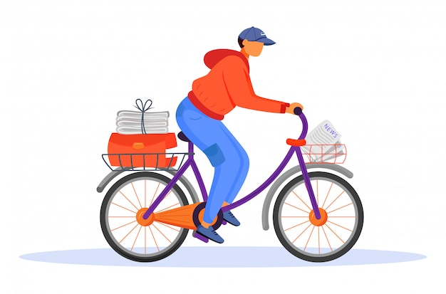 Post office male worker flat color vector illustration. young man distributes news. post service delivery. daily newspaper carrier. paperboy on bicycle isolated cartoon character