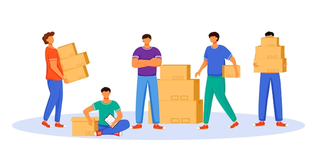 Post office male workers and loaders flat color illustration. men distribute packages. post service delivery. boxes and parcels transportation isolated cartoon character on white background