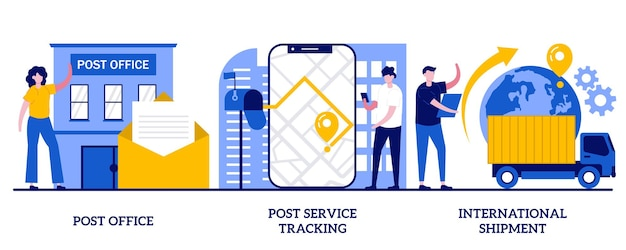 Post office, post service tracking, international shipment concept with tiny people. post shipment system, online tracking app, letters and parcels delivery abstract vector illustration set.