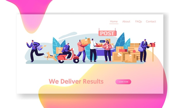 Post office service. people send letters and parcels. postmen deliver mail and packages to customers. website landing page template