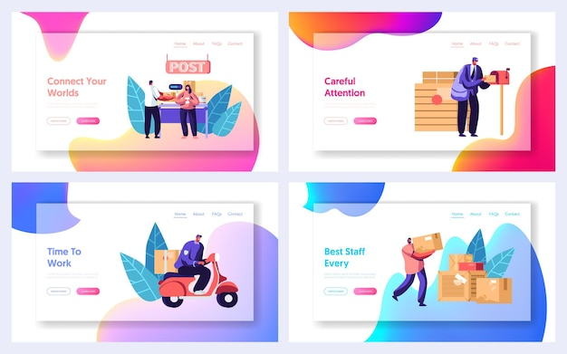 Post office service website landing page templates set. people send letters and parcels. website landing page template