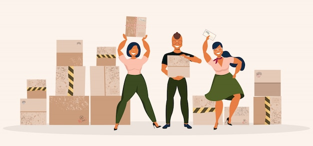 郵便局チームと小包。パッケージを送る人の手描きイラスト。大きな宅配ボックスと配達チーム。ソフトベージュの背景の要素のグループ。
