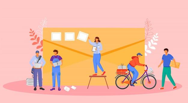 郵便局員カラーイラスト。自転車のペーパーボーイ。ポストサービス配信。女性は封筒にスタンプを置きます。ピンクの背景に小包の漫画のキャラクターを受け取る