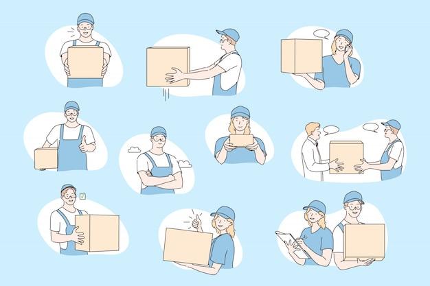 Post office workers, deliverer set concept