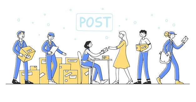 Post office workers serving customers illustration