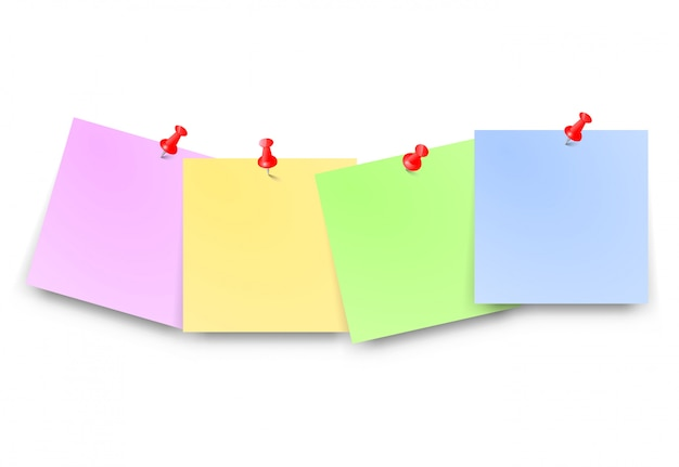 Post papers with red pin set blank