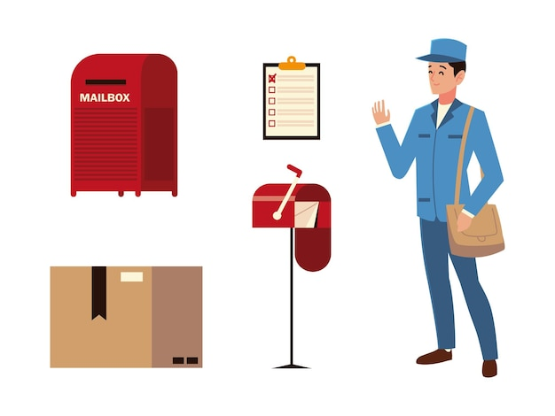Post service postman mailbox clipboard and cardboard box icons